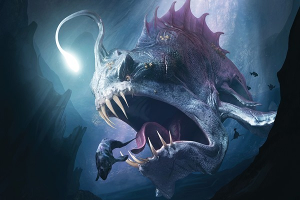 digital art creature sea monsters underwater fish fangs lights deep