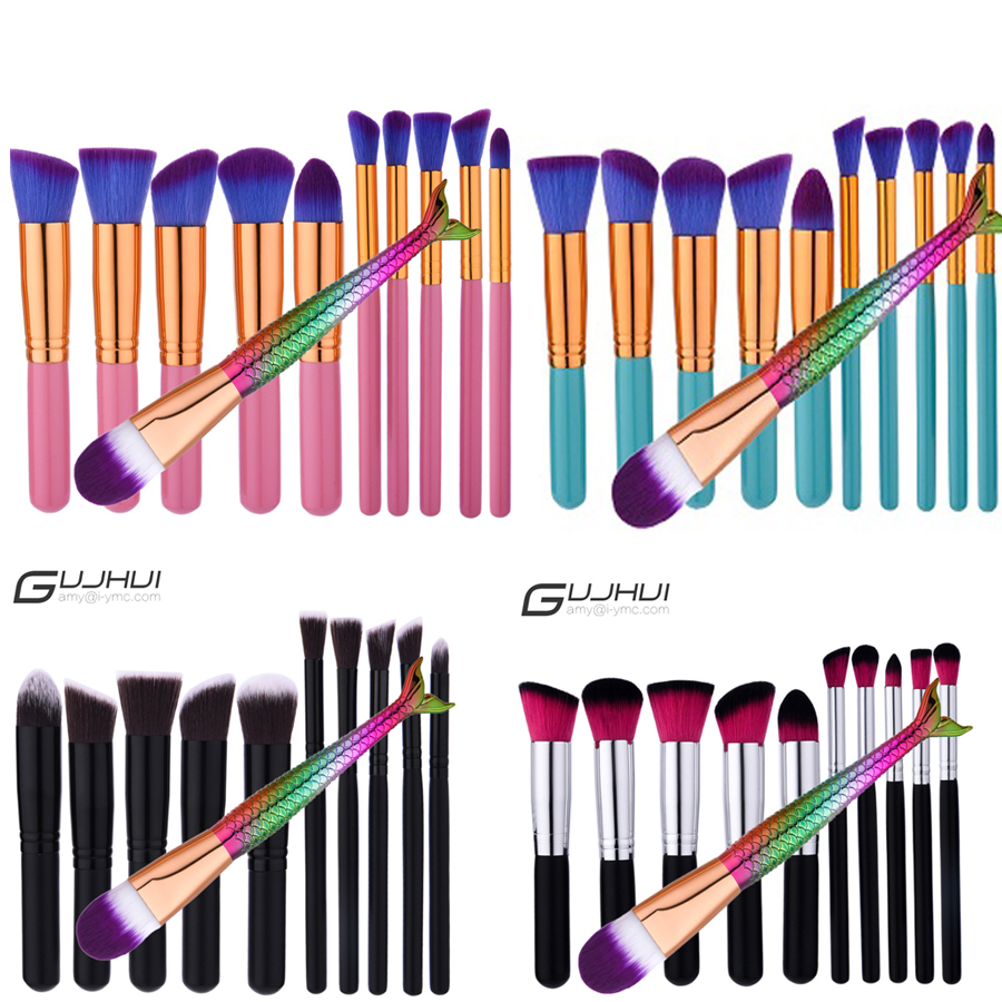 Mermaid Brushes Sets Makeup Brushes Professional Synthetic Fiber Powder Eyeshadow Makeup Blush +Mermaid brush Gift
