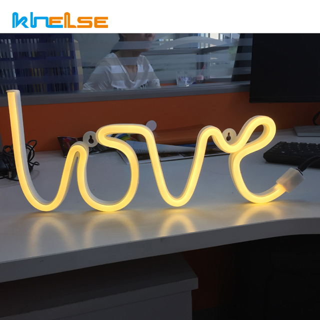 Online New Love Led Neon Sign Light Home Decor Wall Word