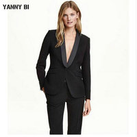 Black pant suits for women business suit 2 piece set ladies office uniform formal female trouser suit women tuxedo (Jacket+Pant)