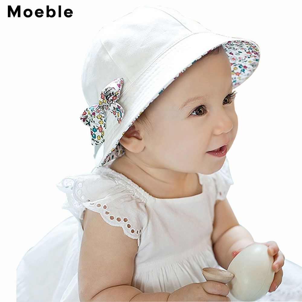 Moeble Toddler Hat Infant Baby Girls Floral Bowknot Bucket