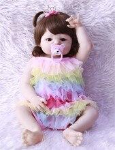 NPK 55cm Full Silicone Bebe Reborn Baby Girl Princess Dolls Lifelike Newborn Babies Alive Doll for Child Bath Shower Bedtime Toy цена 2017