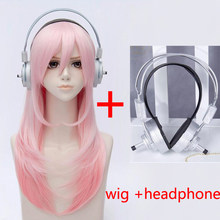 Super Sonico Supersonico 60cm Long Pink Ombre Hair Heat Resistant Cosplay Costume Wig + Toy headset Headphone Prop(China)
