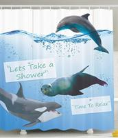 Funny Shower Curtain,Taking Shower Time with whale ,Dolphin and Shark, Smiling Face Bath Coastal Ocean Animals Decor
