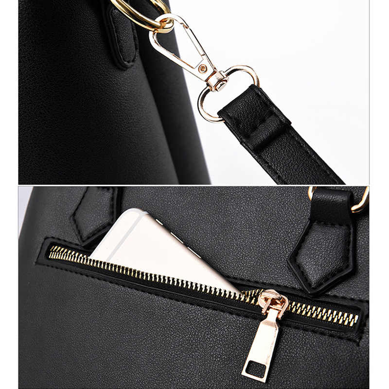 Moda Bolsas 2 pçs/set Compostas Sacos das Mulheres Bolsa Das Mulheres Bolsa de Ombro Fêmea Sacola de Grande Capacidade Sacos Crossbody para As Mulheres