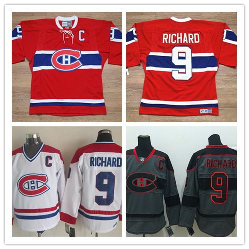 9acf732a47f Montreal Canadiens Maurice Richard CCM #9 Vintage Hockey Jersey Red White  Shirt Cross Check Dark Grey/Gray Hockey Jersey