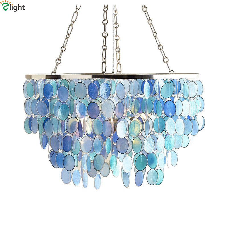 Customize Modern Lustre Gold Metal Led Pendant Chandelier Lights Round Shell Living Room Led Chandeliers Lighting Hanging Light