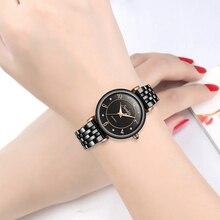 SUNKTA Full Black Ceramic Diamond Watch Women Rose Gold Waterproof Watches Top Brand Luxury Quartz Clock Relogio Feminino