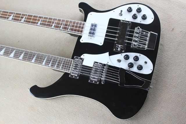 Black Ricken Style Double Neck Electric Bass And Guitar412 Strings