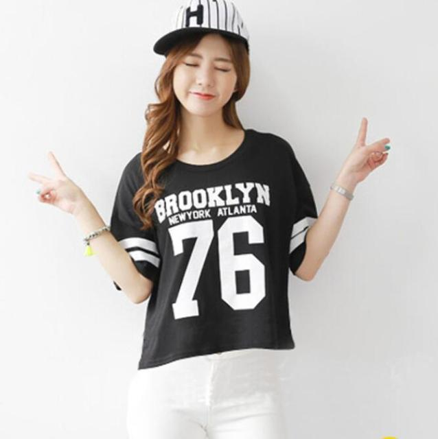 Girl T-shirt Simple Cropped Tops Female Top Brand Casual Round Neck Short  Sleeve Letters