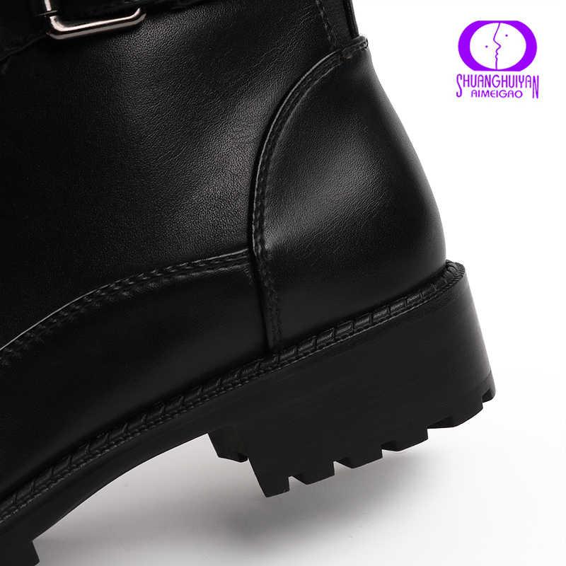 Aimeigao Cột Dây Đen Mắt Cá Chân Giày Nữ Thu Đông Dây Kéo Thấp Gót Giày Boot Nữ Khóa Dây Xe Máy Chống Thấm Nước