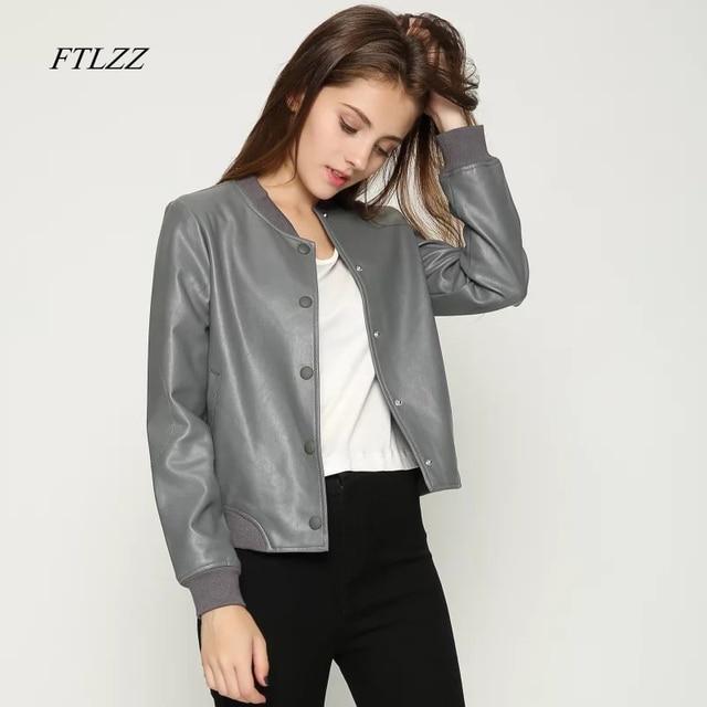 d36aa4733152c Ftlzz Spring Autumn Women Pu Leather Jacket Fashion Biker Punk Style Black  Coat Washed Good Quality