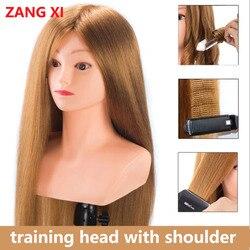 Pelo humano de alta calidad 80% dorado cabeza de entrenamiento para rizos de hierro alisar práctica mujer cabeza de Maniquí de peluquería con hombro