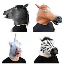 New Year Horse Head Mask Animal Costume Unicorn Black Zebra Toy Party Halloween 2019 Decoration