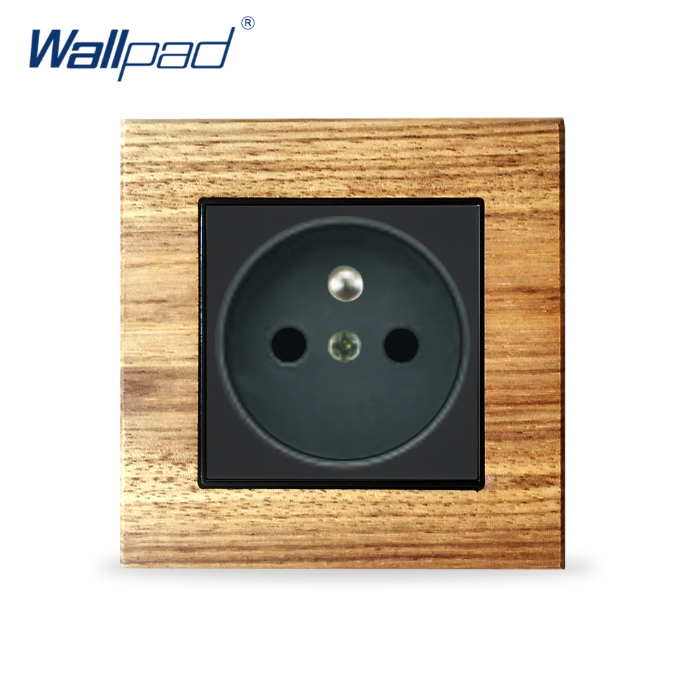 EU French 2 Pin Socket Schuko Wallpad Luxury Wooden Panel Electric Wall Power Socket Electrical Outlets For Home eu 2 pin german socket wallpad luxury satin metal panel eu 16a electric wall power socket electrical outlets for home schuko