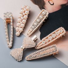 1Pc Vintage Imitation Pearl Hairpins Gold Color Hair Clips Crystal Rhinestones For Women Girls Jewelry Hair Styling Accessories