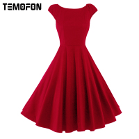 TEMOFON New Summer Women Casual Swing Solid Elegant Dress Casual Fashion O Neck Party Dresses Classic