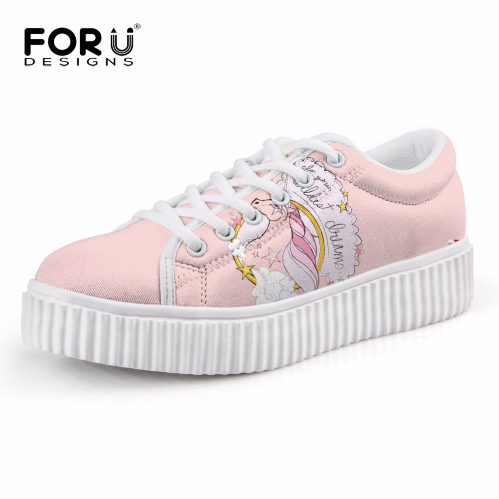 FORUDESIGNS 3D Unicorn Printed Flats Platform Women Shoes Fashion Pink Women Height Increasing Shoes Classic Low Top Female Shoe forudesigns women casual wedge platform shoes 3d animal rabbit printed height increasing shoes shape ups for female swing shoes