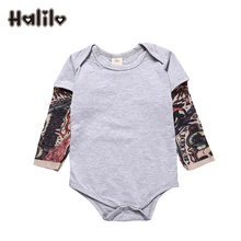 Halilo Long Sleeve Romper Cotton Patchwork Baby Boy Clothes