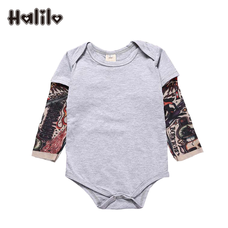 Halilo Long Sleeve Romper Cotton Patchwork Baby Boy Clothes 2018 Christmas Costume Infant Boy Jumpsuit Baby Boy Romper 9-24M