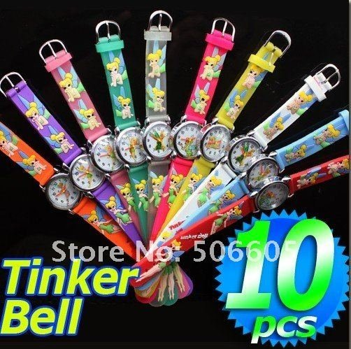 Free Shipping Wholesale Tinker Bell Watch,3D Cartoon Quartz Watch 10pcs/set &Promotion children Watch