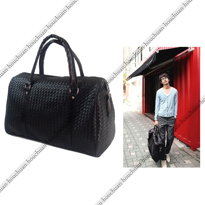 Woven leather mens bag