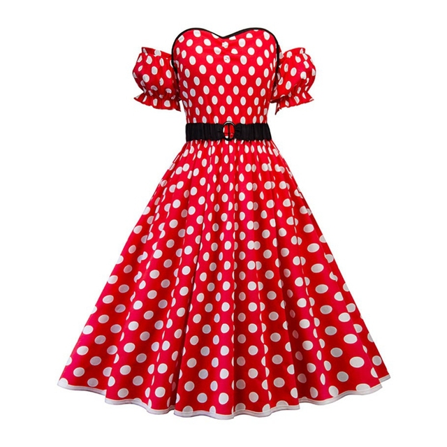 Wipalo Plus Size Polka Dot Vintage Dress Women Off Shoulder A-Line Party  Dresses Retro 04d5e963caa6