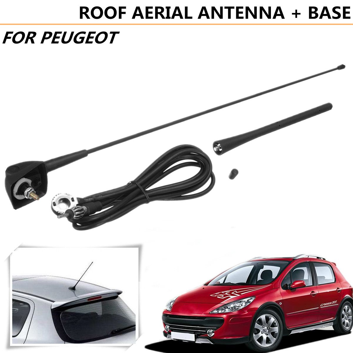 Square Base Roof Antenna and Mount For Peugeot 106 205 206 306 307 309 406 806