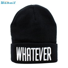 Trendy Style New Good Quality Unised Adults Winter Black Whatever Beanie Hat And Snapback Men And Women Cap Gift 1PC