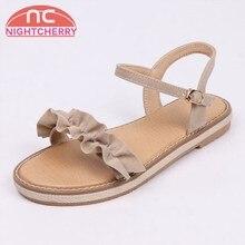NIGHTCHERRY las mujeres Sandalias de tacón plano punta abierta hebilla Ruffles  señoras sandalias moda Simple para 3920a6b4e4f3