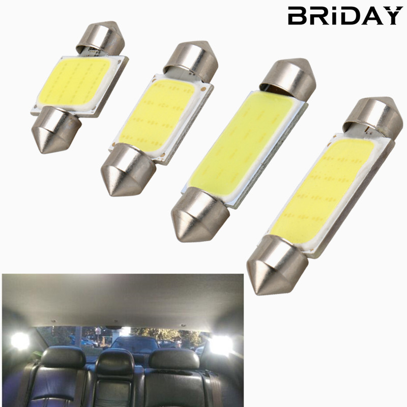 BRIDAY 1pc Festoon 31mm 36mm 39mm 41mm car COB LED Bulb C5W C10W White Color Car Dome reading Map Light Auto Interior Lamp DC12V