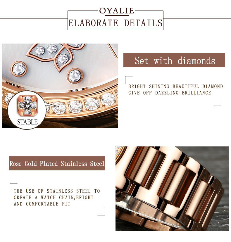 b95eb1c015a2 OYALIE Vlinder Ontwerp Klok Vrouwen Horloges Automatische Mechanische  Horloges Rose Gold Stalen Band Lady Horloge reloj mujer 9775