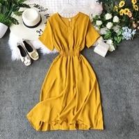 2019 new fashion women's dresses Summer V neck short sleeved chiffon dress
