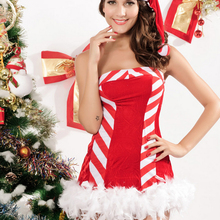 Good Quality Christmas lingerie sexy Christmas costume erotica lingerie teddies the red and white stripes christmas dress