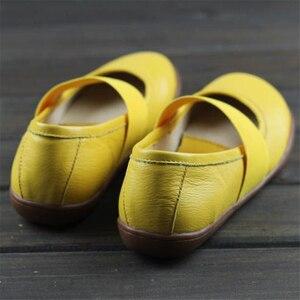 Image 4 - Zapatos planos de cuero genuino para mujer, zapatos informales oxford planos, calzado femenino, novedad primavera 2020, amarillo y negro