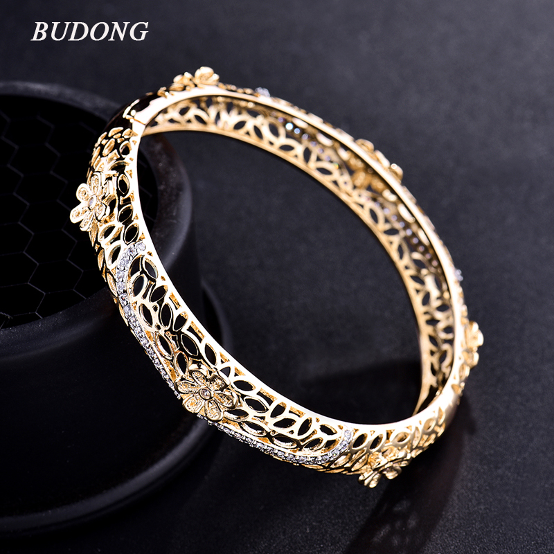 Fashion Hollow Flower Bangles for Women 18k Gold Platinum Plated Bangle Bracelet Crystal CZ Zirconia Engagement Jewelry Z011 bangle