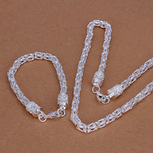 2015new 925 sterling silver 5mm widebasket  chains links necklace bracelet  for men's  fine fashion jewerly trendy promotion