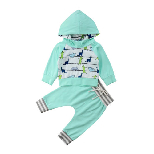 fd2be3f3f 2019 Newborn Toddler Baby Kid Boy Long Sleeve Hooded Dinosaur Tops  Sweatshirt+Straps Pants Outfit Tracksuit Clothes Sets 0-24M