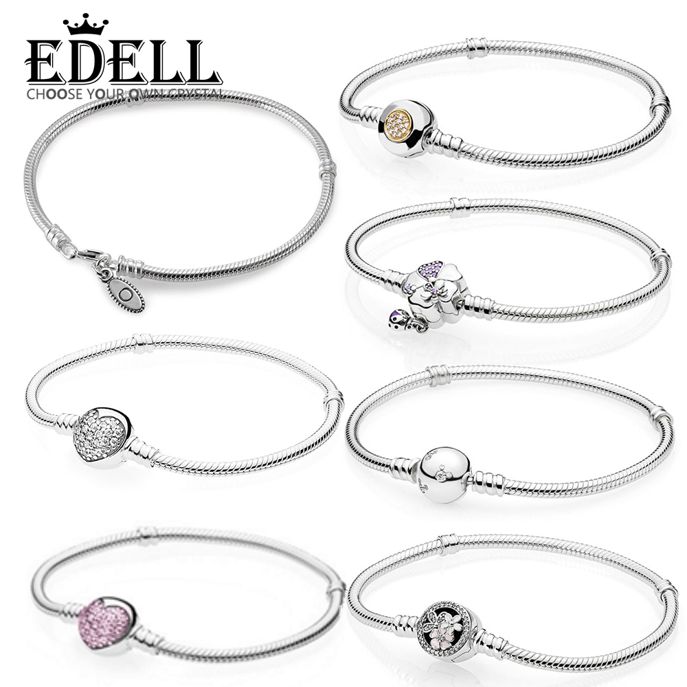 все цены на EDELL 100% 925 Sterling Silver Genuine MOMENTS Bracelet SPARKLING HEART CLASP POETIC BLOOMS WILDFLOWER MEADOW Temperament онлайн