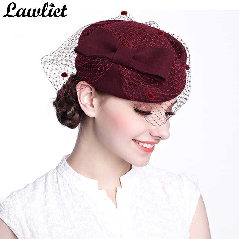 9e9af67023602 Winter Fedoras Pillbox Hats Vintage Style Wool Felt Women Fascinator Hat  with Bow Veil Wedding Hats