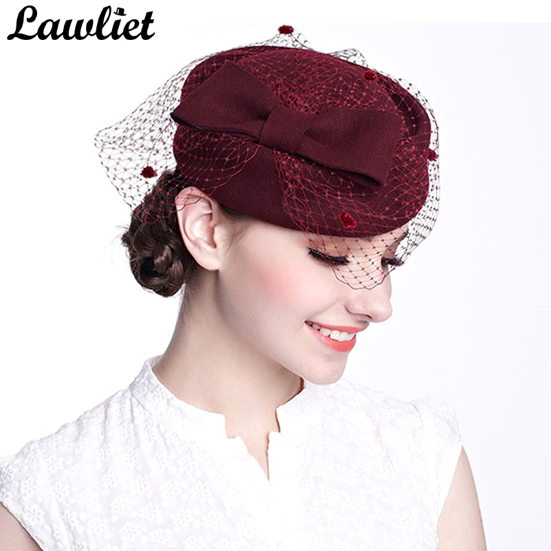 Winter Fedoras Pillbox Hats Vintage Style Wool Felt Women Fascinator Hat with Bow Veil Wedding Hats Race Ascot Party Church Hats