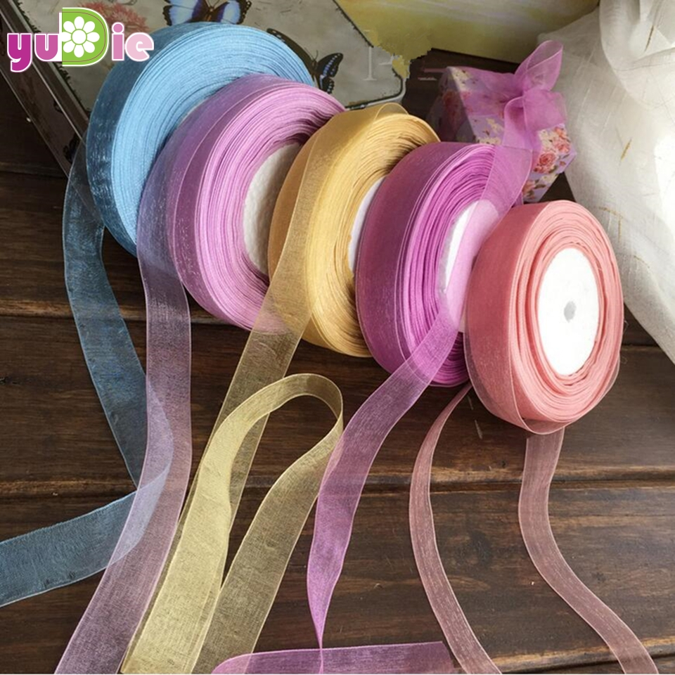 15mm 50Yard/Rolls 22M Pretty Silk Organza Double Face Transparent Ribbon For Wedding Party Decoration Crafts Gift Packing Belt