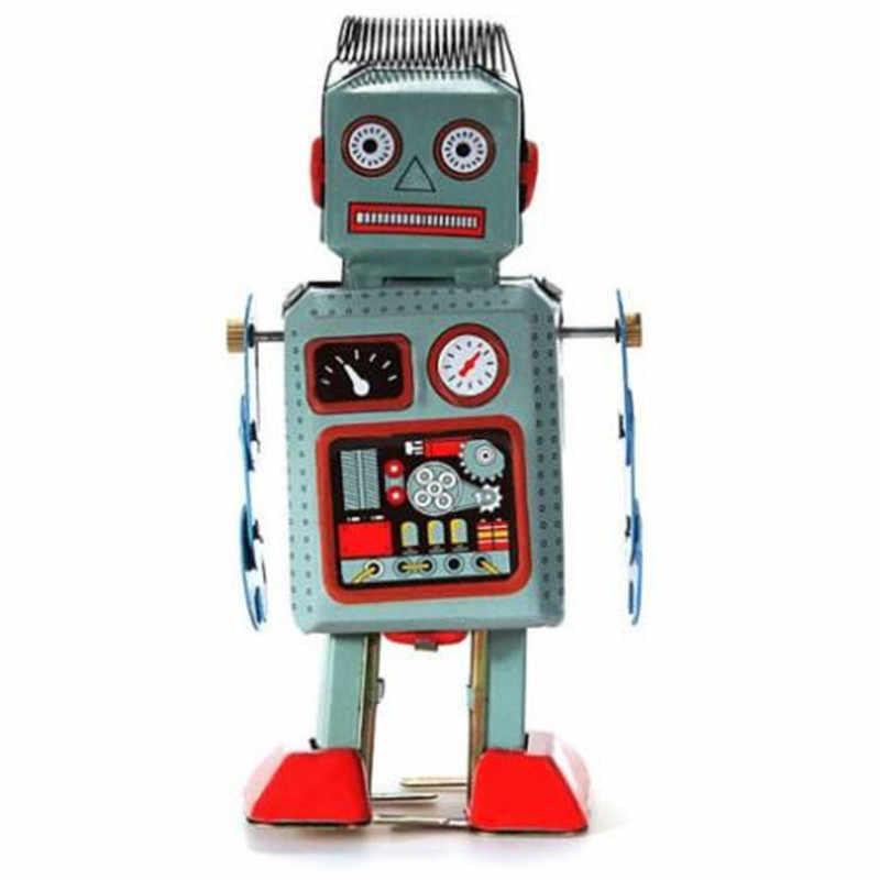 Классический Заводной заводные игрушки металлический ходячий Робот Ретро винтажная механическая игрушка подарок