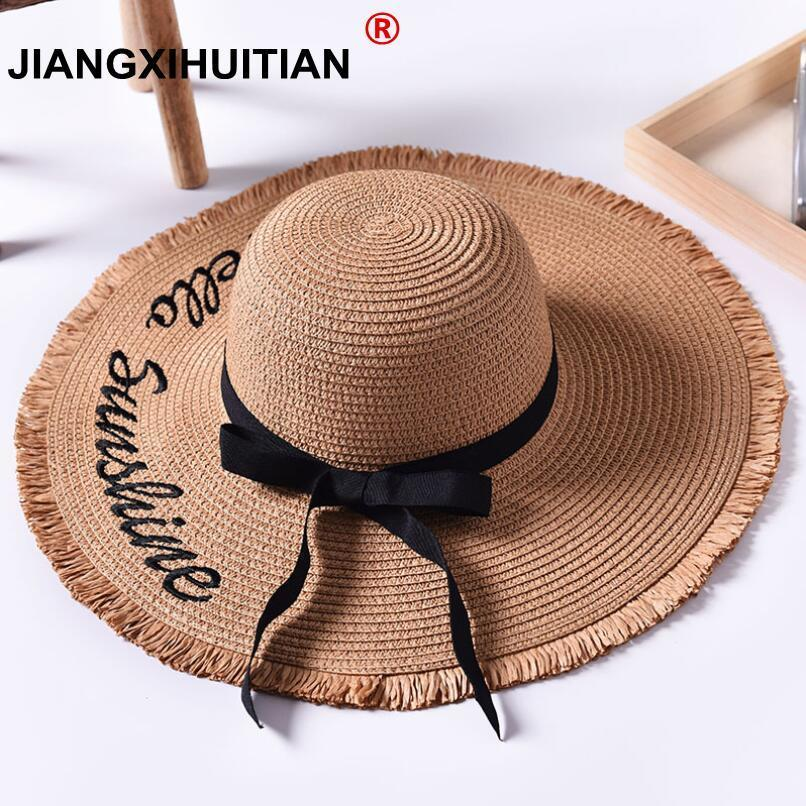 Handmade Weave letter Sun Hats For Women Black Ribbon Lace Up Large Brim Straw Hat Outdoor Beach hat Summer Caps Chapeu Feminino(China)