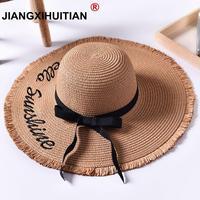Ручной работы ткань письмо Защита от солнца шапки для женщин черная лента кружево до большой соломенная шляпа с полями Открытый пляжная шля...