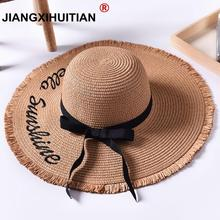 Handmade Weave letter Sun Hats For Women Black Ribbon Lace Up Large Brim Straw Hat Outdoor Beach hat Summer Caps Chapeu Feminino chic black ribbon embellished summer straw hat for women