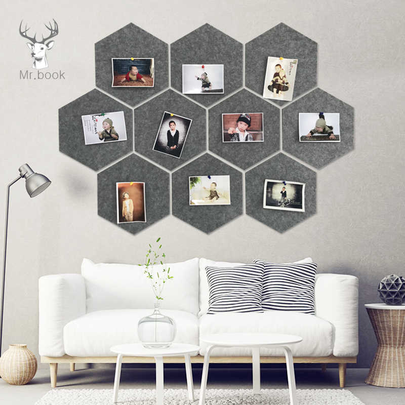 10Pcs 3D Felt Hexagon Letter Message Board Photo Display DIY Art Home Office Planner Schedule Board Wall Decoration Memo Holder
