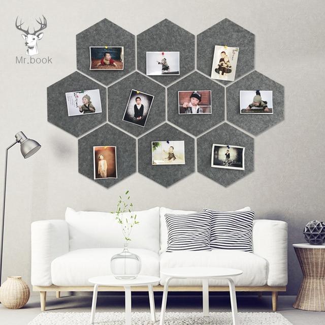 10Pcs 3D Felt Hexagon Letter Message Board Photo Display DIY Art Home Office Planner Schedule Board Wall Decoration Memo Holder
