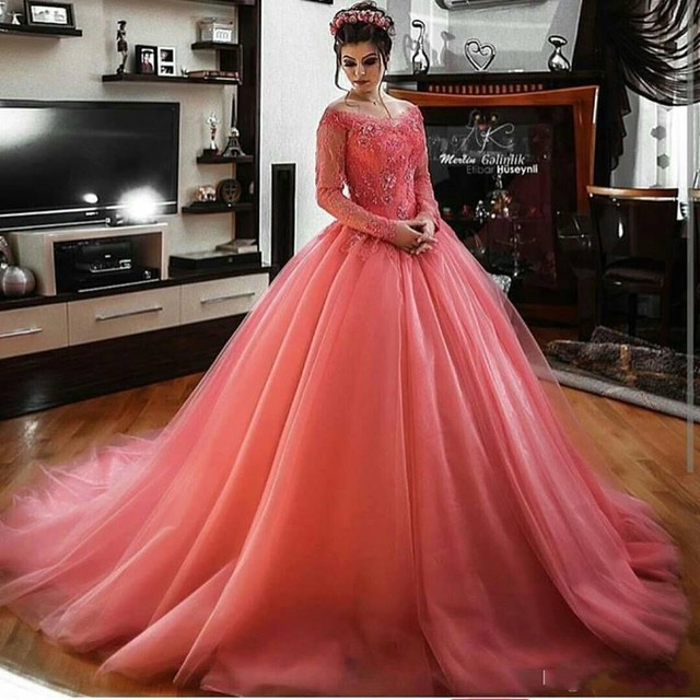 Arabic Evening Dresses sweep Train Gala Dress Floor Length Long Sleeve  Party Gown Dubai Elgenat Coral Prom Gowns Saudi Arabia cb680f63c097