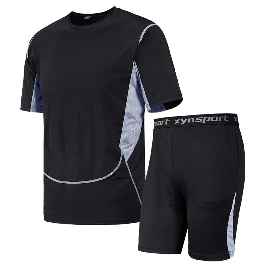 Men's Casual Fitness Fast Drying Elastic Short Sleeve Short Pants Sports Suit 7.16